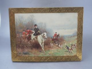 Antique Embossed Brass Picture Frame w Sanderson Wells Lady Hunting w Dogs Print