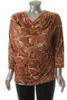 Jones New York NEW Multi Color Print 3 4 Sleeve Draped Neck Pullover Top Plus 1X