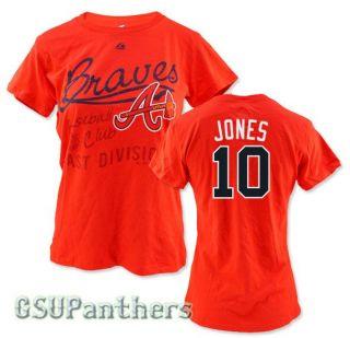 Chipper Jones Atlanta Braves Women's Red Jersey T Shirt Sz s 2XL