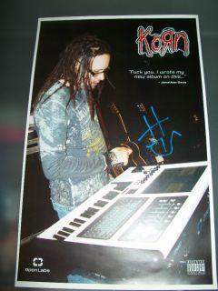 Jonathan Davis RARE Signed Promo Poster Korn Authentic Unique Autograph COA