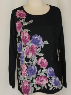 Jones New York Sport Black Floral Long Sleeve Stretch T Shirt Size 1x or 2X