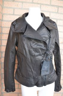 NEW Mackage Jordana Black Leather Asymmetric Biker Moto Motorcycle Jacket LARGE