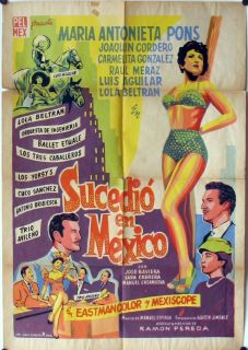 091 Sucedio En Mexico Original Mexican Movie Poster Maria Antonieta Pons 1958