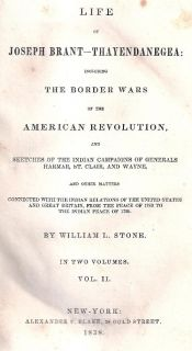 RARE 1838 Life of Joseph Brant Thayendanegea Indian Wars American Revolution US
