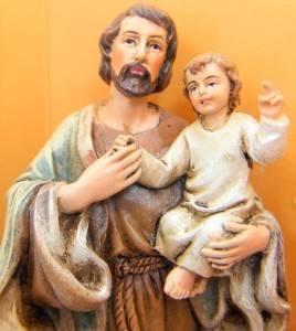 Saint St Joseph w Baby Jesus Catholic Religious Statue 4'' Marble Resin w Box