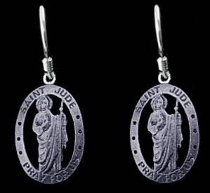 Look St Saint Jude Thaddeus Earrings Sterling Silver Pray