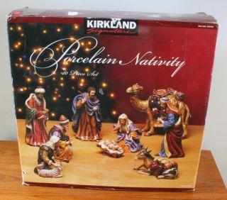 KIRKLAND PORCELAIN NATIVITY 10 PIECE DETAILED SET