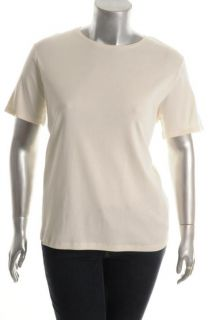 Jones New York NEW Ivory Short Sleeve Crew Neck Pullover Top Shirt Plus 3 BHFO