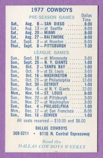 1977 NFL Dallas Cowboys Football Schedule Mint K0332