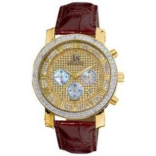 Joshua Sons Men's Diamond Chronograph Strap Watch New