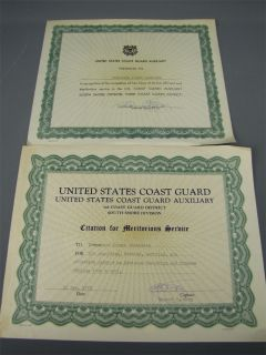 2 Vintage US Coast Guard Auxiliary Awards CDR Joseph G