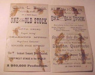 2 Victorian Trade Cards Actor Charles L Davis as Alvin Joslin 1880's Play