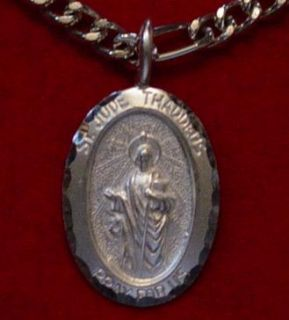 Saint Jude Thaddeus Pendant Charm Sterling Silver Pray