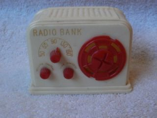 Vintage Ideal Retro Table Radio Look Design Coin Still Bank