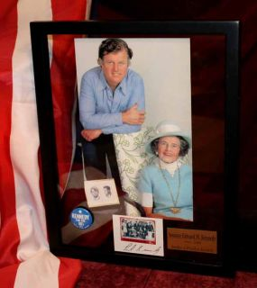 Signed Ted Kennedy Autograph Rose Christmas Card Frame UACC COA Button Mag