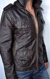 SUPERDRY Brad Men's Leather Motorcycle Jacket Beckham Biker Cut New Brown