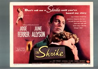 The Shrike Lobby Card 1955 1 June Allyson Jose Ferrer G VG