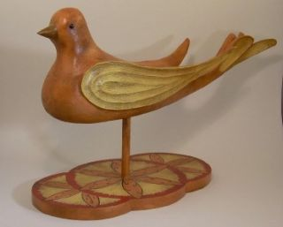 Signed Joseph Santangelo Hand Carved Painted Wood Bird Folk Art Sculpture