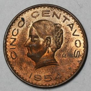 1954 Red BU 5 Centavos Mexico Large Josefa Type Lot B