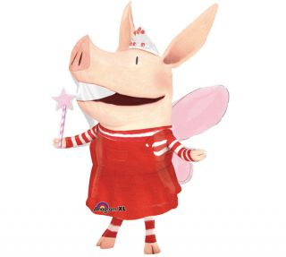 "Olivia The Piglet 37"" Supershape Balloon Birthday Get Well Nick Jr Free Ribbon"