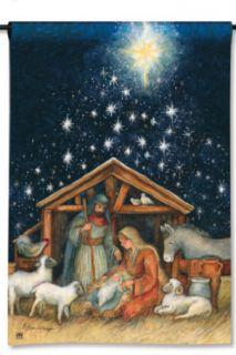 Creche with Mary Joseph Baby Jesus Star of Bethlehem Christmas Garden Flag