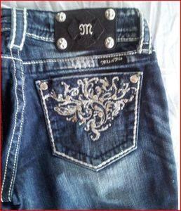 "Auth Miss Me ""Flourish"" Bootcut Dark Jeans JP5358B DK14E Size 26 30"