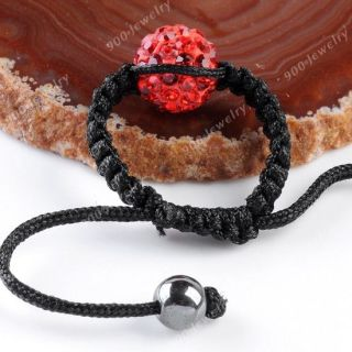 Polymer Clay Red Crystal Round Ball Bead Handmade Woven Finger Ring Hematite