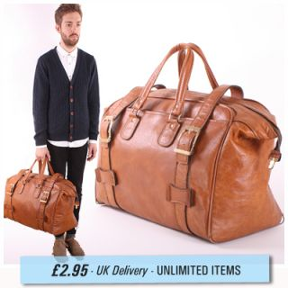 Vintage Tan Brown Faux Leather Weekend Travel Holdall Bag