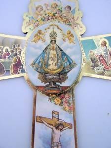 Crowned Lady of San Juan de Lagros Catholic Wood Crucifix Wall Cross Gold Trim 6