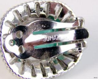 1940s Jomaz Green Baguette Rhinestone Earrings Vintage Jewellery Prom Bridal