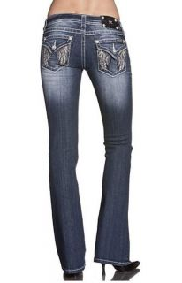 Miss Me JP5616B Crystal Cascade Wings Pocket Lowrise Stretch Jeans