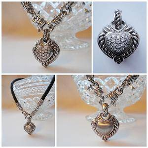 Judith Ripka Sterling Silver 925 Diamonique Heart Enhancer Leather Necklace 43g