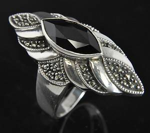 Judith Jack Sterling Silver Onyx Marcasite Deco Ring 10