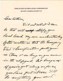 Joseph P Kennedy Autograph Letter Signed