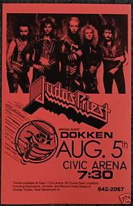 Judas Priest Collectible Concert Poster Dokken