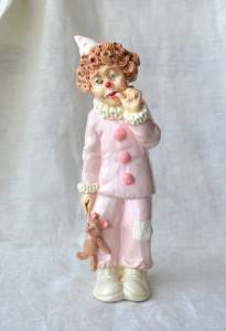 Judis Pastime signed collectible ceramic figurine clown with teddy bear 1985
