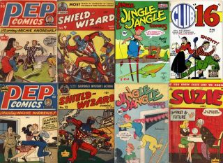 Golden Age Comics DVD Teenage Cartoon Pep Comics 3 MLJ Archie Shield Wizard