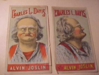2 Victorian Trade Cards Actor Charles L Davis as Alvin Joslin 1880's Play