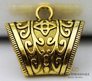Wholesale Vintage Mix Silver Gold Tibete Scarf Charm Slide Tube Buckle Pendant