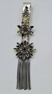 Saree Keychain Juda 925 Sterling Silver Multi Gemstones Pendant with Tassel