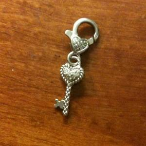 Judith Ripka Sterling Silver Heart Key Pendant or Charm CZ