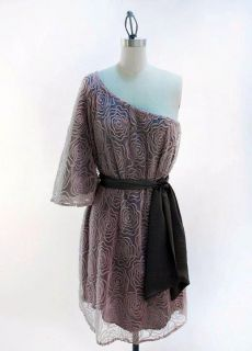 Judith March Vintage Rose Mesh One Shoulder Dress s M L