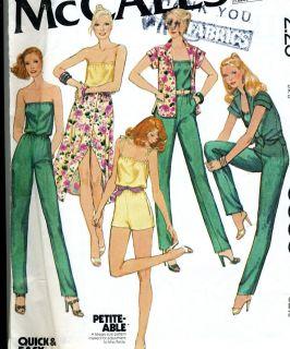 Misses Size 10 Jumpsuit Top Skirt Vintage Sewing Pattern McCalls 6539