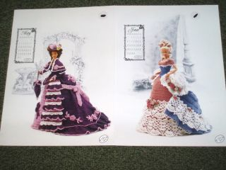 Original Crochet Patterns Calendar Bed Doll Society 1993 May & June
