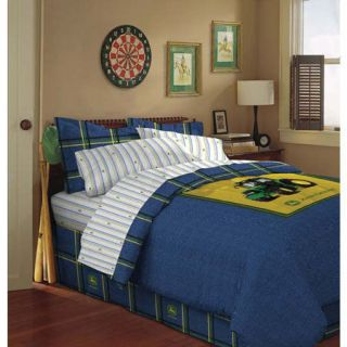 Deer Tractor Logo Denim Complete Bed Comforter Sheet Queen Set