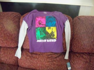 Justin Bieber Long Sleeve Shirt Purple Size 7 8