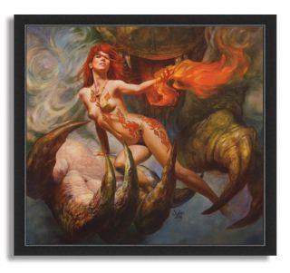 11x12 Boris Vallejo Julie Bell Plays with Fire Fantasy Art Framed