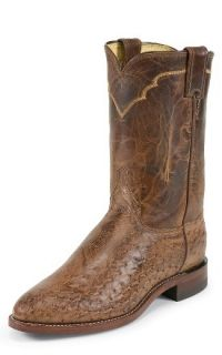 Justin Mens New 3291 Antique Brown Ostrich Leather Western Cowboy