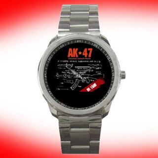 AK 47 kalashnikov fit Russian Rifle Watch Analoque Stainless steel