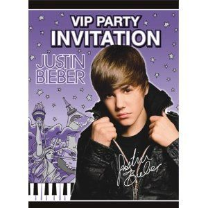 Justin Bieber Birthday Party Invitations 8ct